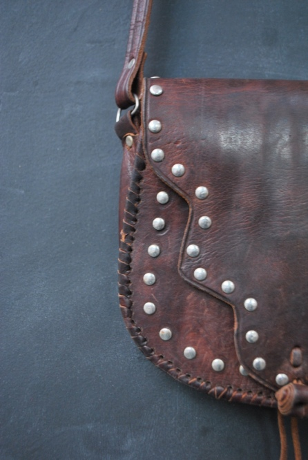 vintage leather studded bag