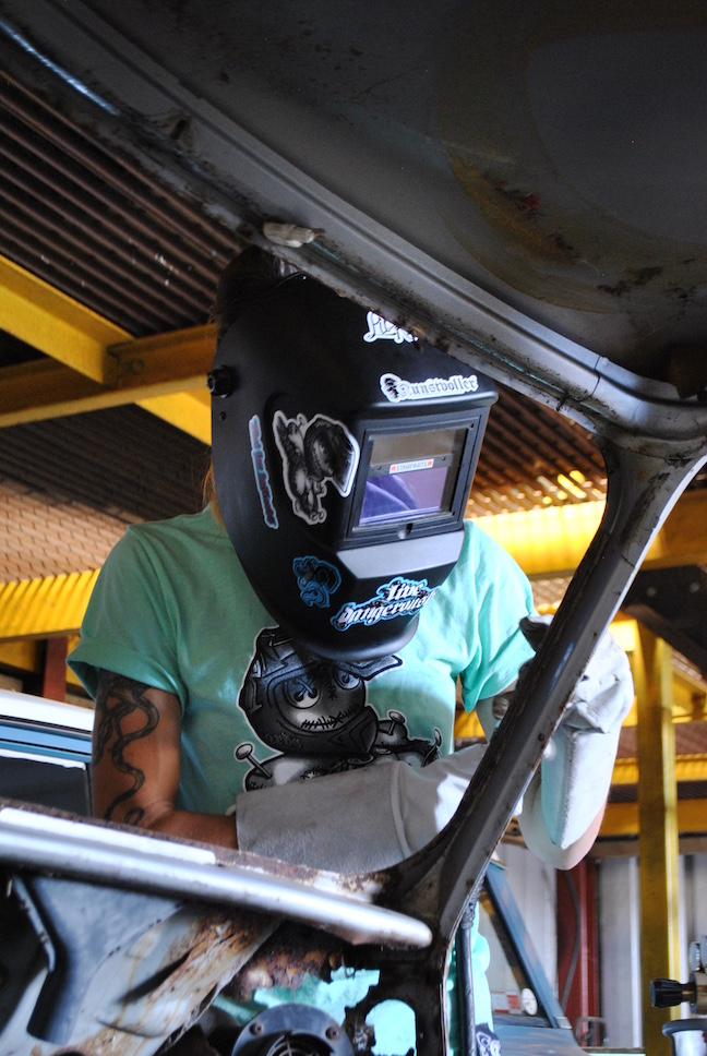 girls welding